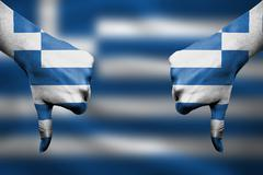 failure of Greece - hands gesturing thumbs down in front of flag - stock illustration