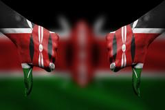 failure of Kenya - hands gesturing thumbs down in front of flag - stock illustration