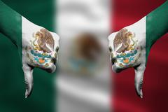 failure of Mexico - hands gesturing thumbs down in front of flag - stock illustration