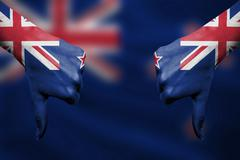 failure of New Zealand - hands gesturing thumbs down in front of flag - stock illustration
