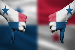 failure of Panama - hands gesturing thumbs down in front of flag - stock illustration
