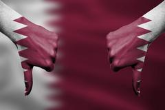 failure of Qatar - hands gesturing thumbs down in front of flag - stock illustration