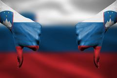 failure of Slovenia - hands gesturing thumbs down in front of flag - stock illustration