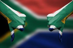 Failure of South Africa - hands gesturing thumbs down in front of flag Stock Illustration