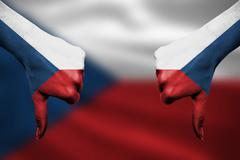 failure of The Czech Republic - hands gesturing thumbs down in front of flag - stock illustration
