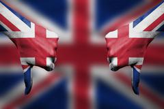 failure of United Kingdom - hands gesturing thumbs down in front of flag - stock illustration