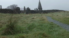Graveyard on Isle of Skye, old with stone wall Stock Footage