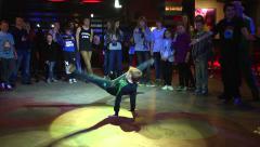 Break Dance free style dancing teen boy Stock Footage