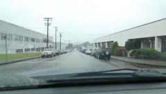 Driving west on Charles Street on rainy day in suburban Vancouver, BC. Stock Footage