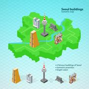 Isometric map of Seoul.Famous buildings of Seoul Piirros