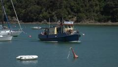 Russell ferry arrives from Paihia, Bay of Islands, New Zealand Stock Footage