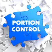 Portion Control on Blue Puzzle Stock Illustration