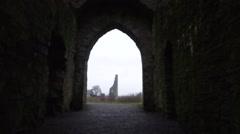 Trim Castle Doors Arch Way - stock footage