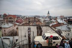 Stock Photo of LVIV, UKRAINE - February 23, 2015 Lviv roofs from high point