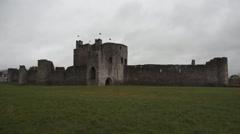 Trim Castle Cloudy Ireland Stock Footage