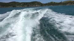 Wake of boat, Bay of Islands, New Zealand Stock Footage