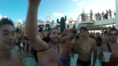 Friends Celebrate Carnaval on Cruise Ship in Brazil Stock Footage