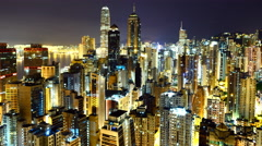 Time Lapse Pan of Hong Kong Skyline and Victoria Harbor at Night - Hong Kong Stock Footage