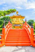Gold Chinese pavilion at the park of Hong Kong Stock Photos