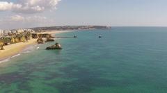 Aerial from Praia da Rocha near Portimao in the Algarve Portugal Stock Footage