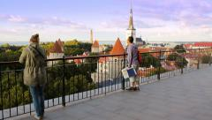 Patkuli viewing platform in Tallinn, editorial Stock Footage