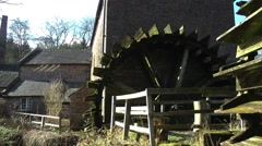 Water mill watermill water powered wheel heritage old moss covered Stock Footage