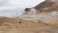 Iceland volcano mudpot hot spring landmark - Namafjall Hverarondor hveri Stock Footage