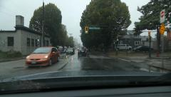 Driving west on Prior Street on rainy day in suburban Vancouver, BC. Stock Footage