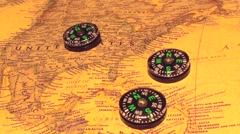 Three compass magnetic field Stock Footage