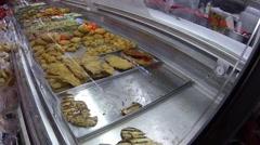 Chicken cutlet at deli - stock footage