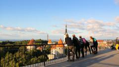 Patkuli viewing platform in Tallinn, sunset, editorial Stock Footage