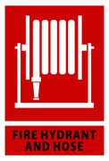 Fire hose reel sign and symbol isolated red background Stock Illustration