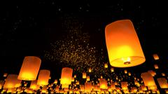 Beautiful Lanterns flying in night sky Stock Illustration