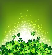 Abstract light on Shamrock for Patrick's day card - stock illustration