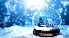 Christmas Snow globe Snowflake with Snowfall on Blue Background Stock Illustration