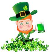 Irish man irish man hold beer on Shamrock for St. Patrick's Day card - stock illustration