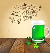 Green beer with Shamrock on wooden floor for St. Patrick's Day card - stock illustration