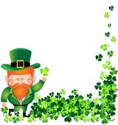 Irish man with Shamrock frame for St. Patrick's Day card Stock Illustration