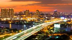 CITY SUNSET - Timelapse - Saigon, Vietnam Stock Footage