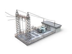 Substation isolated on white background - stock illustration