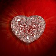 Diamonds heart shaped gemstone isolated on red velvet background - stock illustration
