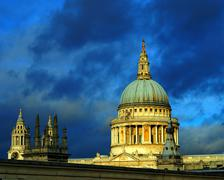St Pauls cathedral dome and spire  in London,Uk. - stock photo