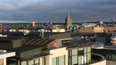 Morning view of Dublin city center Stock Footage