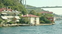Houses by the First Bosphorus bridge Stock Footage