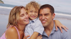 Portrait of family at beach Stock Footage