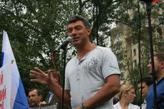 Moscow, Russia - August 22, 2008. Opposition leader Boris Nemtsov speaks at a Stock Photos