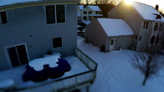 3180 Aerial Neighborhood with Trees at Sunset in the Snow, 4K Stock Footage