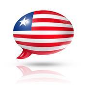 Liberian flag speech bubble - stock illustration