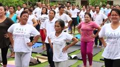 Video 1920x1080  Balinese people do aerobics in Ubud, Indonesia Stock Footage