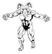 Ram mascot attacking Stock Illustration